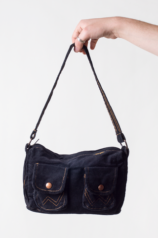vintage Wrangler purse in black corduroy