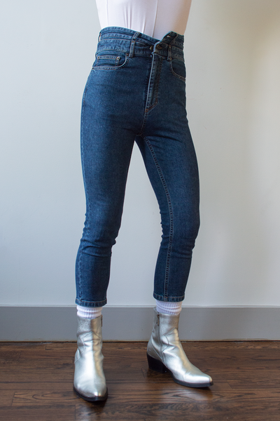 double waistband Y/Project Skinny Jeans in dark wash blue