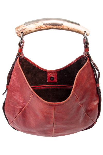 vintage ysl mombasa bag with horn handle in red leather