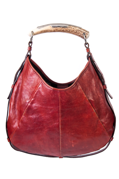 red leather ysl mombasa bag with horn handle