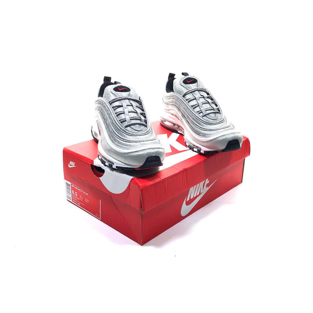 Nike Air Max 97 OG QS Silver Bullet Metallic Red size 8.5 shoes 884421 001