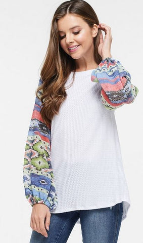 Aztec Print Bubble Sleeve Top