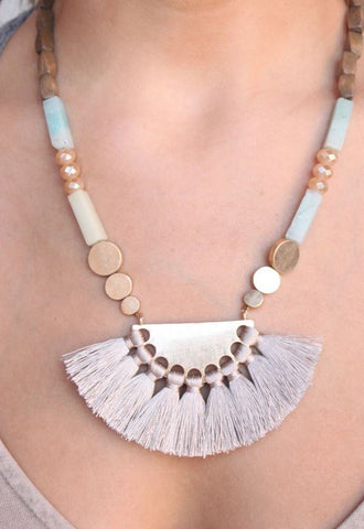 Downer Wood and Stone Necklace-Mint