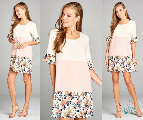 Grace Floral Colorblock Dress