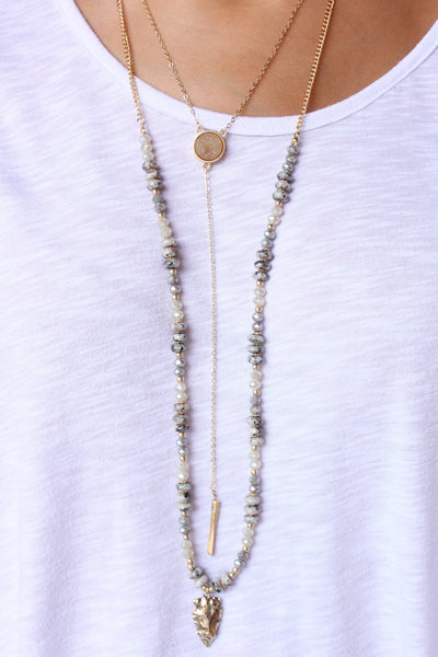 Alamid Double Layer Stone Y Drop Necklace