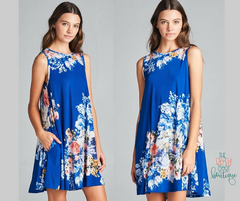 Annie Floral Swing Dress - Royal