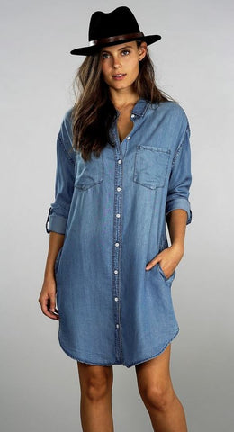 Kari Denim Dress - Medium Wash