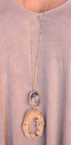 Paley Agate and Druzy Pendant