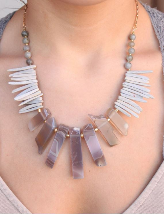 Somali Natural Stone And Wood Necklace-Gray