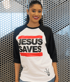 Jesus Saves Baseball Tee (Unisex)