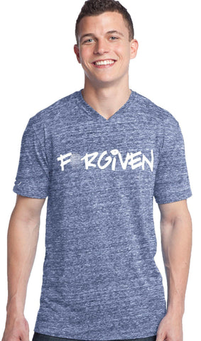 Forgiven V-Neck Tee | Blue Marble