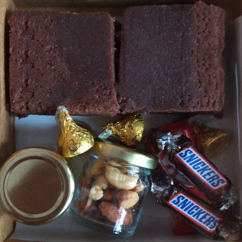 Mini Box Brownies, Dry fruits and Chocolates