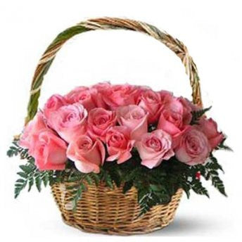 30 pink roses in a basket - saysurprise