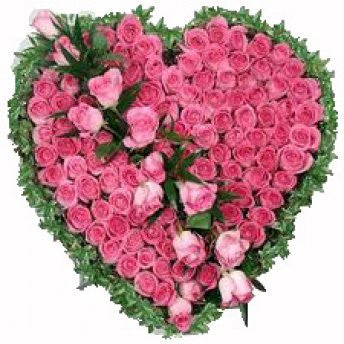 Heart box of 75 pink roses - saysurprise