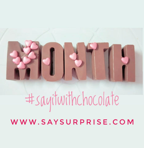 Giant chocolate messages - saysurprise