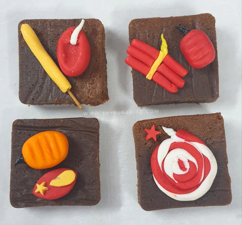Diwali Decorated Brownies gift box
