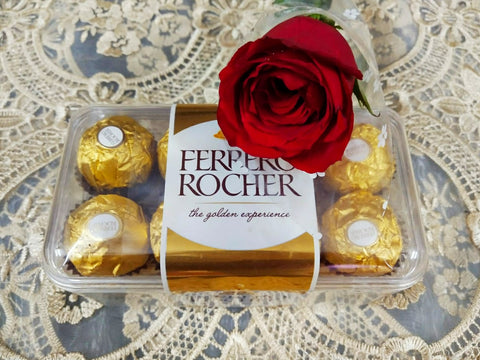 Ferrero Rocher & a red rose