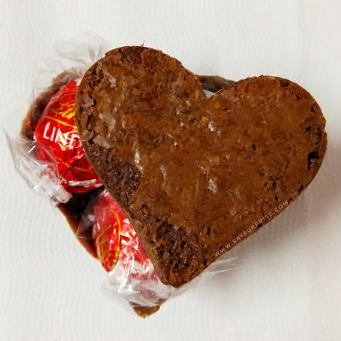 Chocolate lindt heart brownies