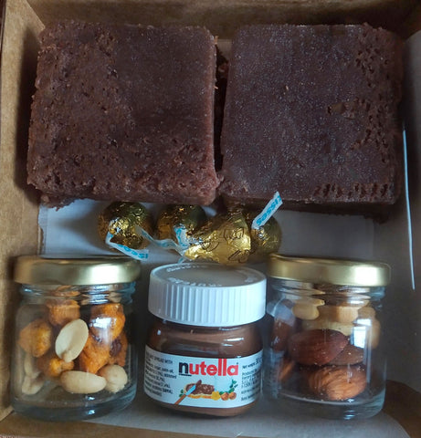 Mini Box Brownies, Nutella, Cookies and Dry fruits