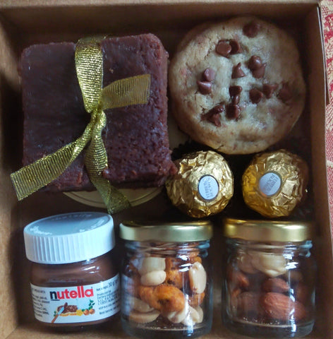 Luxury Mini Box Brownies, Nutella, Cookies, Ferrero and Dry fruits