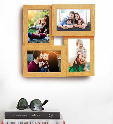 Beige Wood Wall Hanging Collage Photo Frame - saysurprise