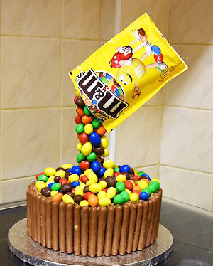 M & M's peanut anti-gravity chocolate cake - saysurprise