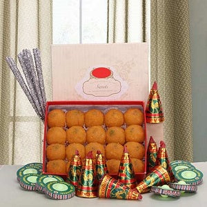 Motichur Laddoos and Crackers - saysurprise