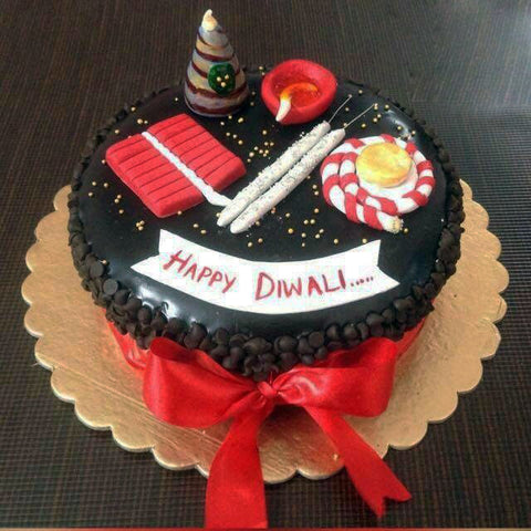 Diwali chocolate cake with toppers - saysurprise