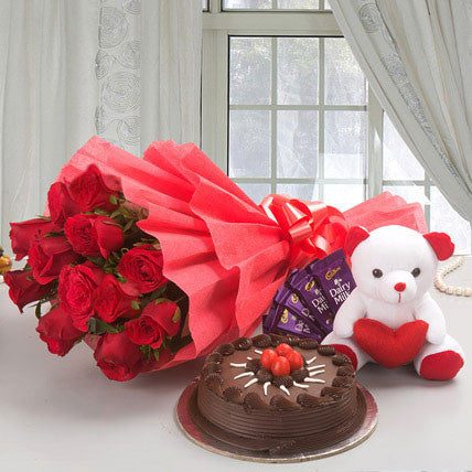 Roses & Cake & Chocolate & Teddy Combo - saysurprise
