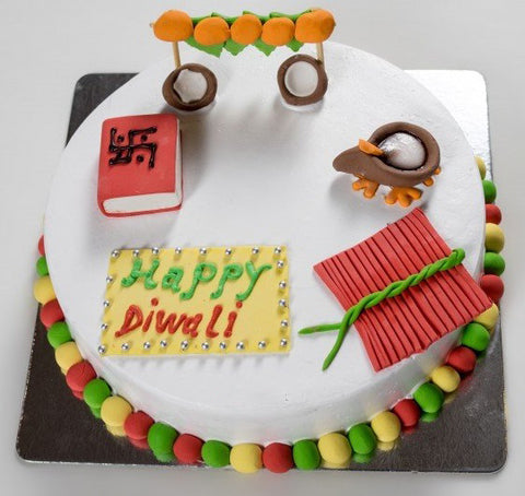 Diwali fondant cake with toppers - saysurprise
