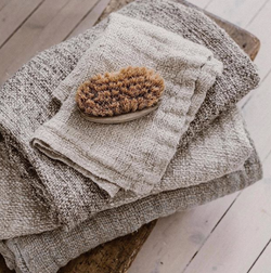 Bessie Pure Linen Hand Towels Natural & White