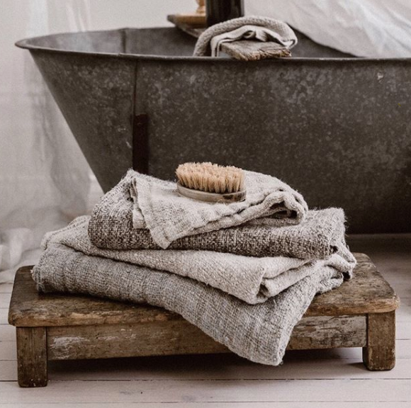 Bessie Pure Linen Bath Towels Natural & Charcoal