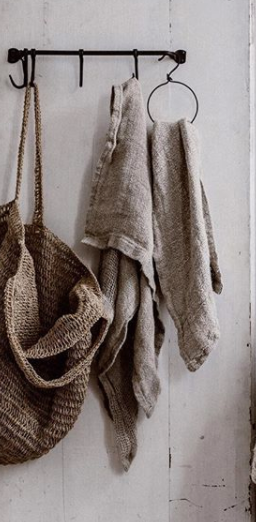 Bessie Pure Linen Hand towels Natural & Charcoal