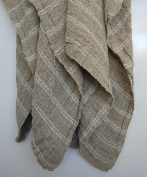 Ethel Woven Linen Throw -Natural & White