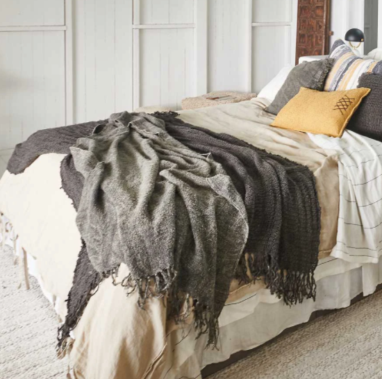 Bedouin Linen Throw -Slate