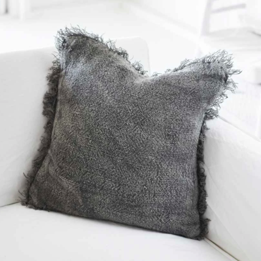 Bedouin  Stone wash Linen Cushion -Slate