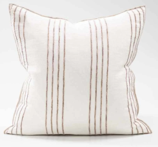 Rock Pool Linen Cushion -White/Natural Stripe