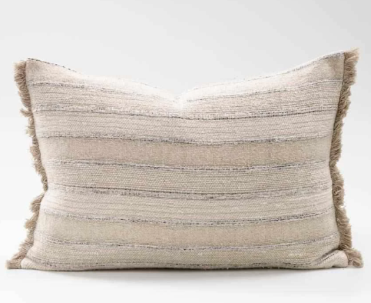 Tracks Cushion -Natural - Blue