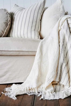 Bedouin Oversized Linen Throw -Ivory