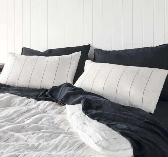 Linen Quilt Cover Set - King Carter Stripe