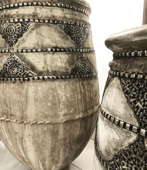 Terracotta Pots With Silver -Morocco
