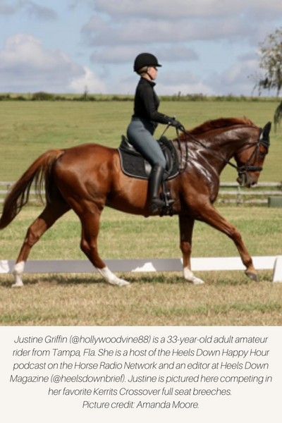 Equestrian riding dressage in full seat breeches