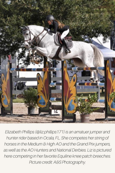 Equestrian jumping an oxer in Equiline knee patch breeches