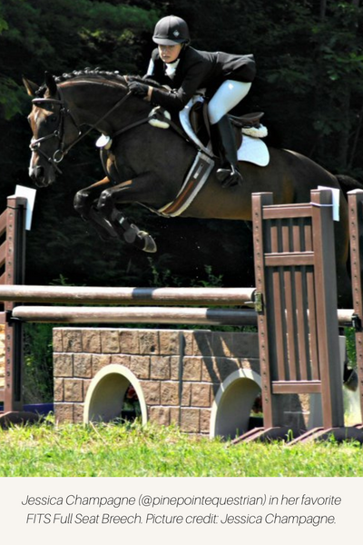 Equestrian riding cross country in full seat breeches