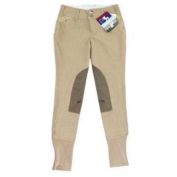 Front of Equine Couture Coolmax Champion Front Zip Breeches in Safari/Taupe - Children's 8