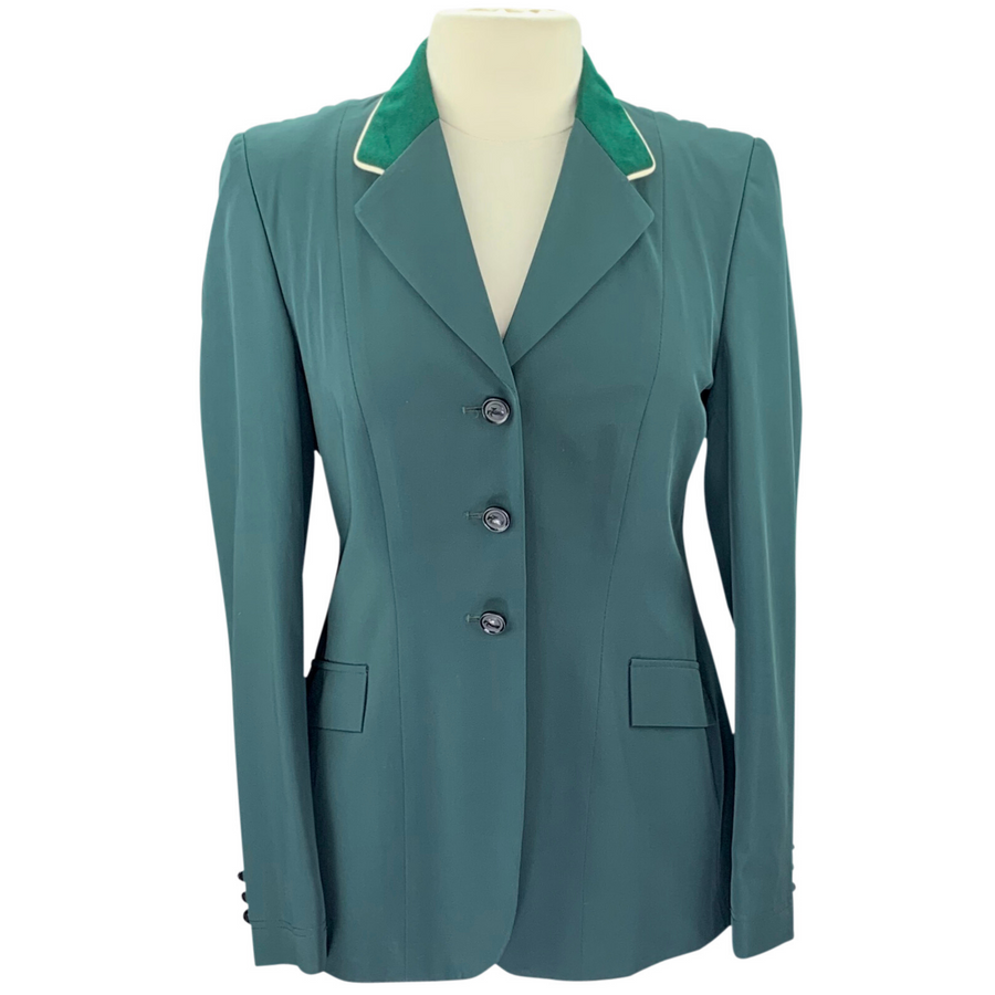 Grand Prix Show Coat in Green/Suede Collar with White Piping