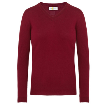CALLIDAE The V Neck Sweater in Bloodstone - Women's XS