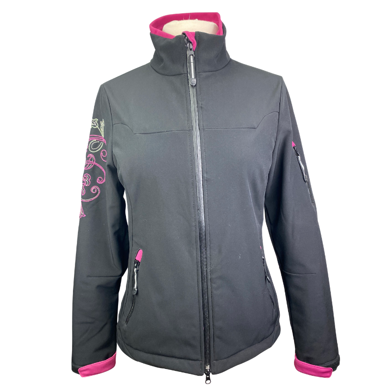 Roper Embroidered Jacket in Black/Pink - Women's Medium