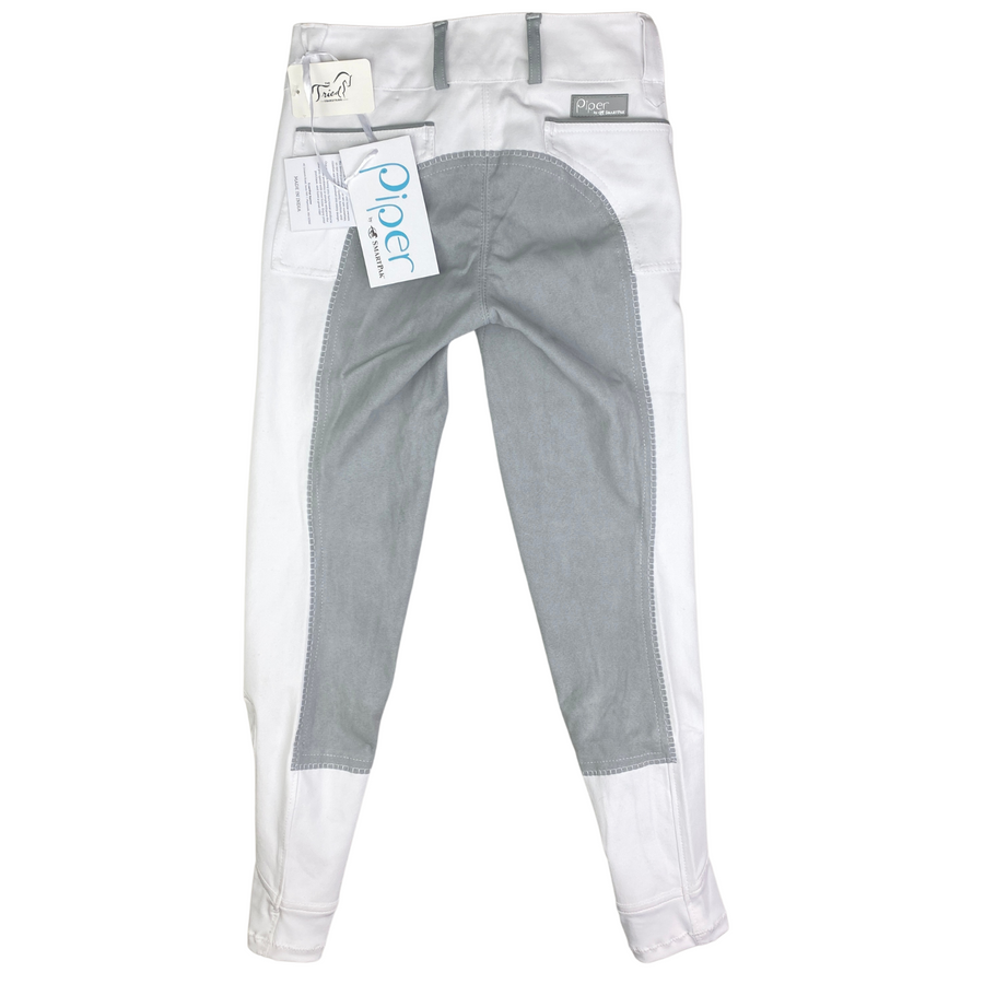 Back of SmartPak Piper Full Seat Breeches in White/Grey Accents - Women's 22R
