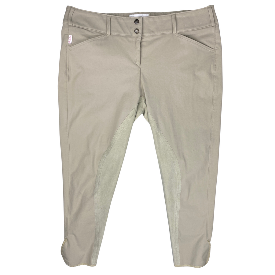 Front of Tailored Sportsman Full Seat Breeches in Tan.